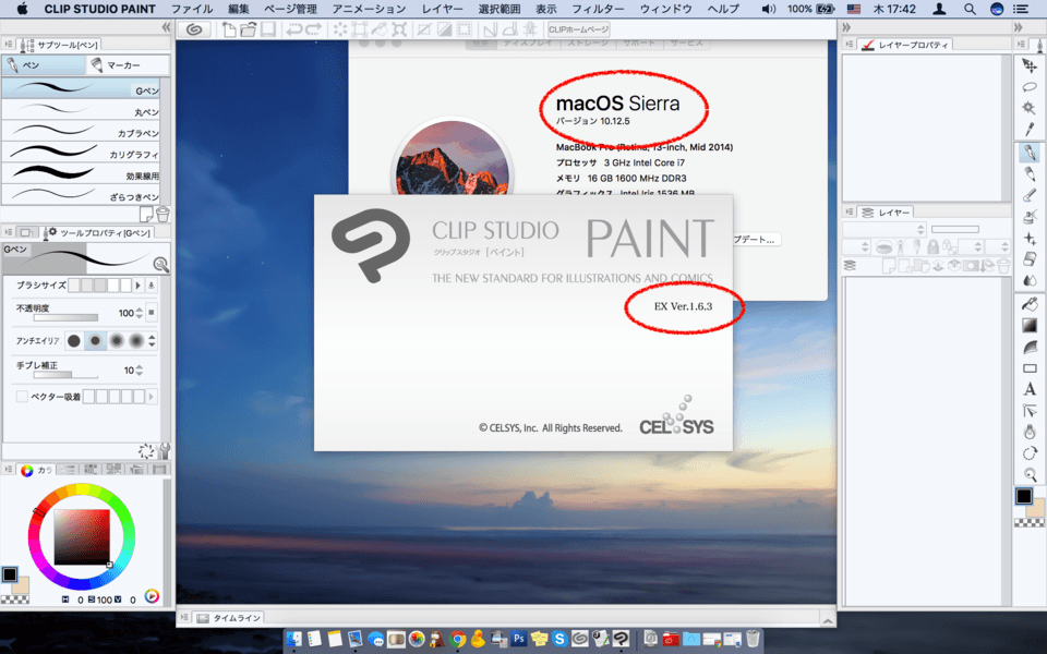 does clip studio paint ex work on macos sierra version 10
