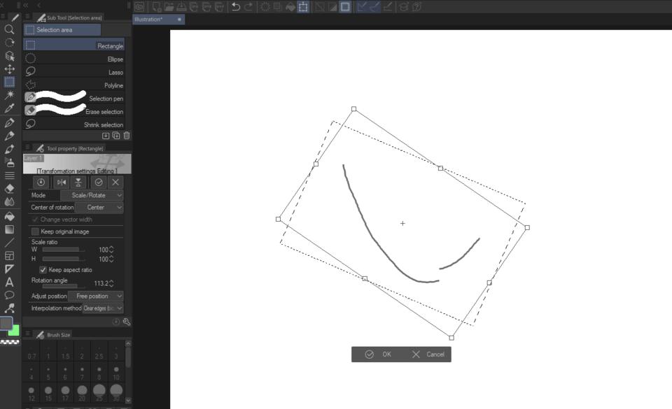 Scale Rotate Transform In Csp Pro Clip Studio Ask